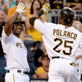 Josh Bell congratulates Gregory Polanco after hitting a home run against the Astros in the third inning at PNC Park Tuesday night.