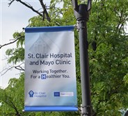 A new sign near the entrance to St. Clair Hospital.
