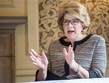 Beth Mooney, chairman and chief executive for KeyCorp, speaks Wednesday about the bank culture similarities and differences between KeyCorp and First Niagara Financial, which recently merged, at the Duquesne Club, Downtown.