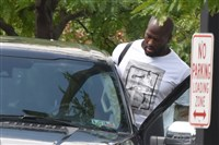 The Steelers' James Harrison leaves the team's South Side facility today after meeting with NFL investigators.