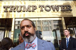 Oz Sultan talks with reporters Thursday outside Trump Tower in New York after attending a meeting with Republican presidential candidate Donald Trump.