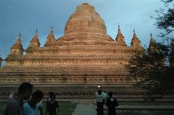 This photo provided by Soe Thura Lwin shows a damaged temple in Bagan, Myanmar, on Wednesday.