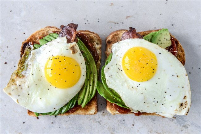 Avocado, Bacon and Egg Toast With Quick Tomato Jam.
