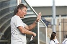 New Pitt men's soccer coach Jay Vidovich encourages his team in an exhibition game against Duquesne Saturday at Ambrose Urbanic Field in Oakland.