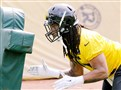 The Steelers' Jarvis Jones practices at the UPMC Rooney Sports Complex in the South Side. Jones has seen more playing time in the first two games of the season than any other of the team's outside linebackers.