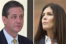 Outgoing acting Attorney General Bruce L. Castor Jr., left, took over for Kathleen Kane after she resigned.