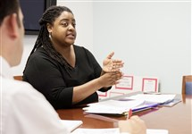 Tiffany Sizemore-Thompson, a law professor at Duquesne University, gives a lecture to law students Thursday in preparation for a clinic beginning this fall that will help families navigate school disciplinary, suspension and expulsion hearings.