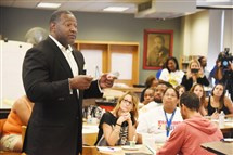 Pittsburgh Public Schools superintendent Anthony Hamlet addresses the teachers at Westinghouse Academy.