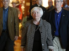 Federal Reserve Chair Janet Yellen arrives for a reception on the opening night of the annual meeting of the world's central bankers in Jackson Hole, Wyo., Thursday.