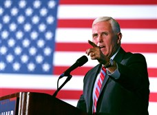 Indiana Gov. Mike Pence, the Republican nominee for vice president, Wednesday night brought his neighborly manner and tough law-and-order message to rural northeast Ohio