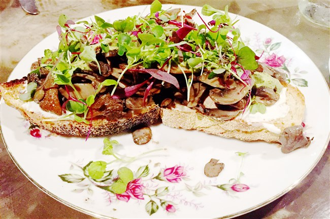 The PA 'Shroom Crostini with button, crimini and oyster mushrooms at Scratch Food & Beverage in Troy Hill.