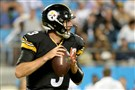 Steelers quarterback Landry Jones drops back to pass against the Panthers during the preseason finale.