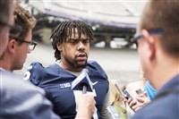 Nyeem Wartman-White speaks with reporters at the Penn State Football Media Day at Beaver Stadium in State College on August 4. Wartman-White's injury in the Temple game has contributed to a shortage of linebackers on the team.