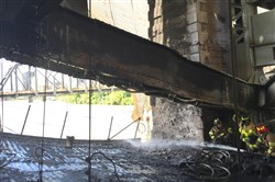 This photo distributed by PennDOT shows the steel chord that bent from intense heat during Friday's fire on the Liberty Bridge.