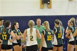 Penn-Trafford coach Jim Schall huddles with his squad during a timeout last weekend at the Mt. Lebanon.