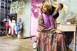 "Amber Jones, left, as Faith, left, Arica Jackson as Fate, Krista Antonacci as Fay, Jordan Phillips as Rey-Rey and Jordan Bolden as Eric in The Rep's production of ""Wig Out!"" at Pittsburgh Playhouse."