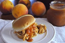 Pulled Chicken Sandwiches with Peach-Bourbon BBQ Sauce.