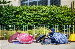 Pitt student Leah McCormick, 21, camps out in front of Gate A of Heinz Field today waiting for the Penn State vs. Pitt game Saturday on the North Shore.