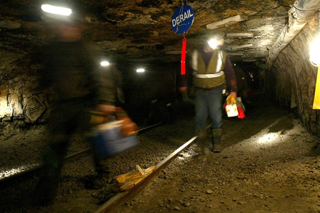 Ohio coal miners head into the mine for a shift inside the Hopedale Mine near Cadiz, Ohio.