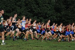 Class AAA boys runners start at the Red, White and Blue Invitational Saturday at Schenley Park.