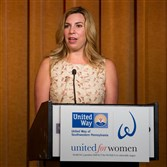 United Way: Heather Abbott, Boston Marathon bombing survivor speaks at the United Way's United for Women initiative breakfast.