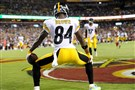 Antonio Brown was fined for this touchdown celebration last season against Washington, but he was chummy with NFL commissioner Roger Goodell in social media posts Monday.