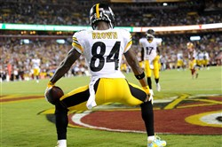 Antonio Brown twerks after catching a touchdown pass against the Redskins on Sept. 12, 2016.
