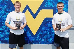 Cam Laffoon, right, with older brother Brett at a 7-on-7 tournament last year at West Virginia.