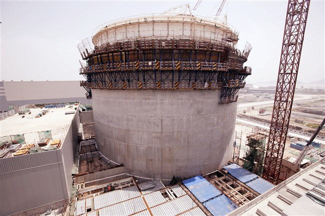 A containment building being constructed at Sanmen, the site of Westinghouse's first AP1000 reactor