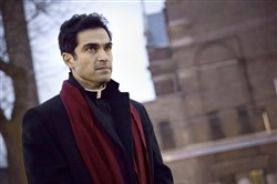 "Alfonso Herrera portrays Father Tomas Ortega in ""The Exorcist,"" which premieres at 9 p.m. Friday on Fox."