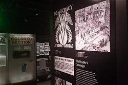 "A display at the museum credits the Pittsburgh Courier with creating the ""Double V"" logo and launching the Double Victory campaign."