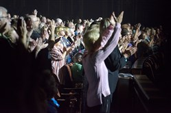 The audience stands to applaud a performance Sept. 7 by Celtic Thunder at the Benedum Center, Downtown. In Pittsburgh and throughout the U.S., standing ovations have become standard in live performing arts events.