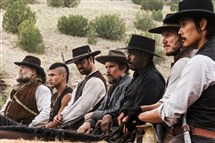 "Assembled to take on a robber baron in ""The Magnificent Seven: Aree, from left, Vincent D'Onofrio, Martin Sensmeier, Manuel Garcia-Rulfo, Ethan Hawke, Denzel Washington, Chris Pratt and Byung-hun Lee."
