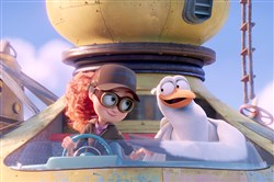 "(L-r) Tulip, left, is voiced by Katie Crown and Junior is voiced by Andy Samberg in the animated adventure ""Storks."""