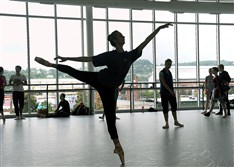 Pittsburgh Ballet Theatre students practice at the new Byham Center for Dance in the Strip District.