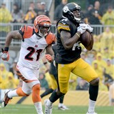 Steelers wide receiver Sammie Coates pulls in a pass in front of the Bengals' Darqueze Dennard in the first quarter Sunday at Heinz Field.