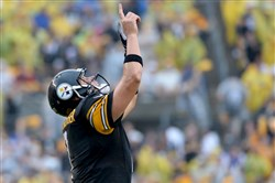 Steelers quarterback Ben Roethlisberger celebrates a touchdown against the Bengals during a Sept. 18 game at Heinz Field.