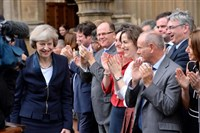 Theresa May is applauded after being named prime minister in July.