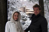 Angelina Jolie and Brad Pitt visited Frank Lloyd Wright's Fallingwater in December of 2006.