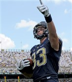 Pitt's Scott Orndoff celebrates a touchdown catch in the second quarter against Penn State Saturday at Heinz Field. Orndoff is the Panthers leading receiver this season.