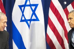 Israeli Prime Minister Benjamin Netanyahu speaks to President Barack Obama on Wednesday during a bilateral meeting at the Lotte New York Palace Hotel in New York City.