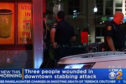 Pittsburgh police said the triple stabbing happened at 11:20 p.m. in the 400 block of Wood Street.