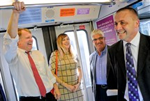 Allegheny County Executive Rich Fitzgerald, left, takes part in a test run of the Port Authority Red Line on Friday from the Fallowfield Station in Beechview. Riding along were City Councilwoman Natalia Rudiak, state Sen. Wayne Fontana and state Rep. Dan Deasy, far right.