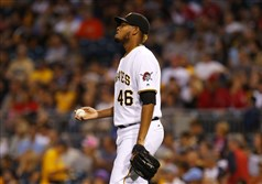 The Pirates' Ivan Nova reacts after giving up a two-run single in the first inning on Saturday against the Washington Nationals at PNC Park.