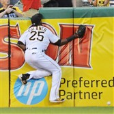 Gregory Polanco collides with the wall in an attempt to catch the ball during a game between the Pirates and the Nationals at PNC Park.