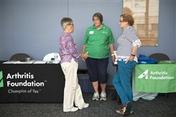 Hanna Gruen, chair of the advocacy committee for the Arthritis Foundation, Jane Brandenstein, a volunteer for the foundation, and Rhoda Dorfzaun, an advocacy committee member, get together at the 2016 Arthritis Expo presented by UPMC Saturday at the Regional Learning Alliance in Cranberry.