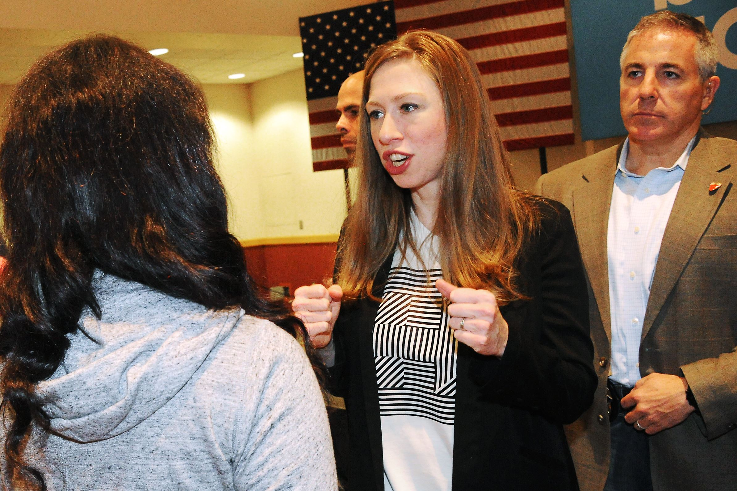 20160924lf-Clinton03 Chelsea Clinton speaks to a supporter of her mother during a campaign stop at the University of Pittsburgh-Johnstown in September.