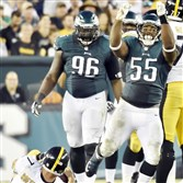 Eagles defender Brandon Graham celebrates a sack on quarterback Ben Roethlisberger in the fourth quarter Sunday in Philadelphia.