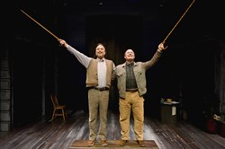 "Daniel Krell, left, plays Bellomy and Gavan Pamer plays Hucklebee in the Pittsburgh Public Theater's production of ""The Fantasticks."""