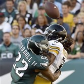Eagles' Nolan Caroll breaks up a pass against Steelers' Markus Wheaton in the first quarter at Lincoln Financial Field.